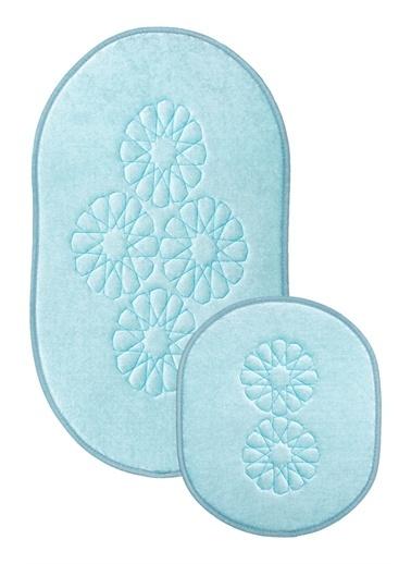 ikinciten Banyo Klozet Paspası Halısı 2'Li Takım Seti Kaymaz Taban Yumuşak Yıkanabilir Mavi  60X50 - 100X60 Mavi